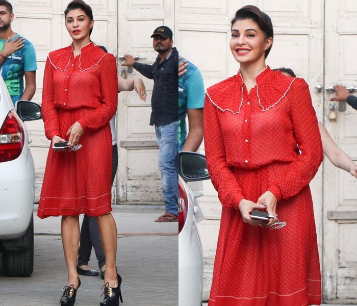 Jacqueline Fernandez Red Skirts and Tops, Jacqueline Fernandez Outfits, Jacqueline Fernandez Dresses 2016.
