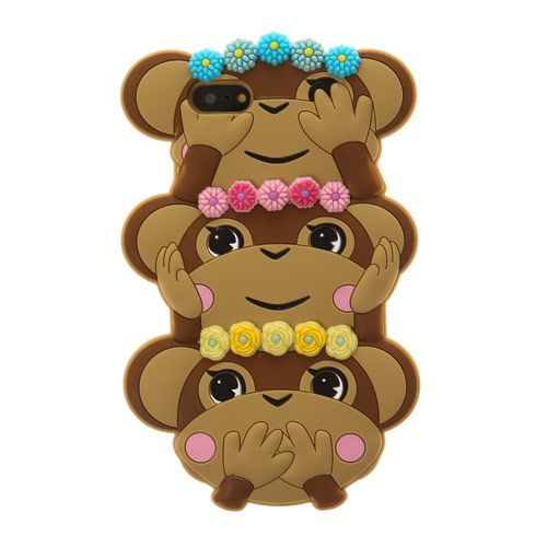 3D Trio of Monkeys Phone Case - iPhone 5/5s
