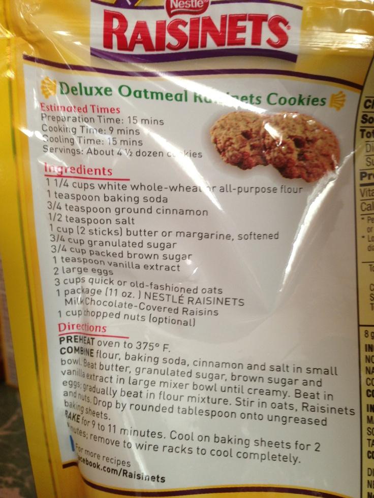 Oatmeal Raisinets Cookies! | Hey Marie, Make This Stuff! | Pinterest