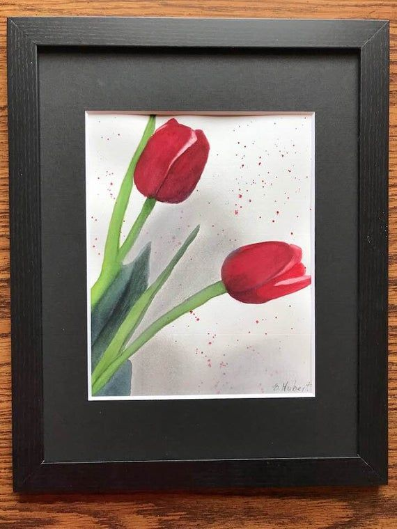 Red Red Tulips Is A 9 X 12 Original Watercolor Painting Of Two Deep Red Tulips With Splatter And Smoky Background Framed Matted In 2020 Red Tulips Blank Note Cards Etsy