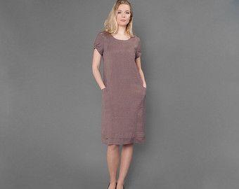 Zuiver linnen jurk, taupe jurkje voor de zomer, vrouw jurken voor zomer midi jurk, linnen kleding, linnen kleding, mode, organische grijs zomer door HomeOfNature