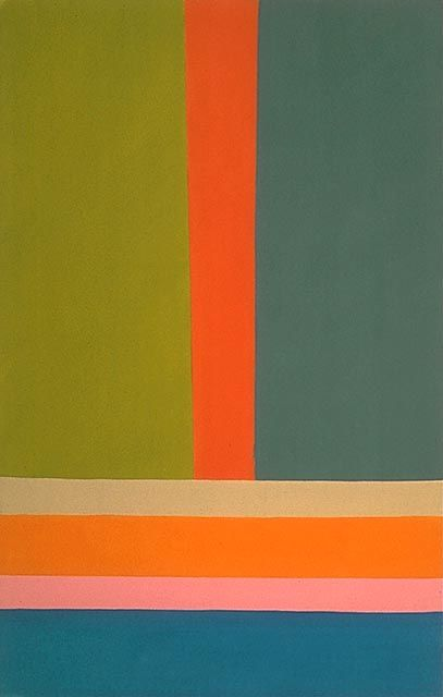 Jack Bush, Big A, 1968. Jack Bush was a Canadian abstract expressionist painter, born in Toronto, Ontario in 1909. Bush became closely tied to the two movements that grew out of the efforts of the abstract expressionists: Color Field Painting and Lyrical Abstraction.[20]