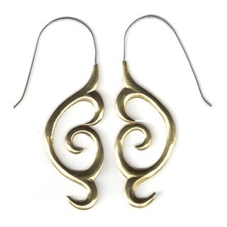 @Overstock.com - Maori Brass Fusion Earrings (Indonesia) - Maori carved tribal style meets fine jewelry in these hoop earrings.  Elegant, fun and comfortable to wear, the tribal fusion earrings feature rubber stoppers for the backs.   http://www.overstock.com/Worldstock-Fair-Trade/Maori-Brass-Fusion-Earrings-Indonesia/8326094/product.html?CID=214117 CAD              28.47…
