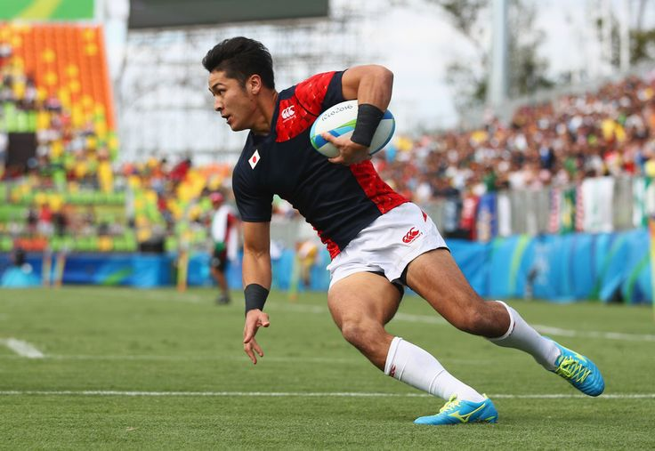 Kazushi Hano of Japan scores a try during the Men's Rugby Sevens semi final match between Fiji and Japan on Day 6 of the Rio 2016 Olympics at Deodoro Stadium on August 11, 2016 in Rio de Janeiro, Brazil.