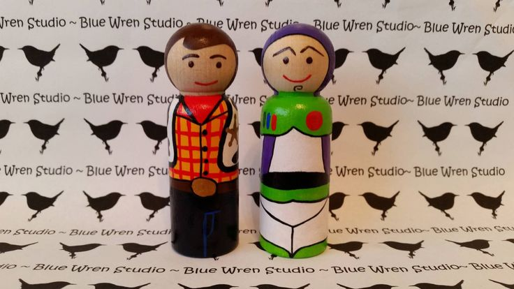 Wooden Peg Dolls - Woody & Buzz Lightyear (Toy Story : Set of 2) by bluewrenstudios on Etsy