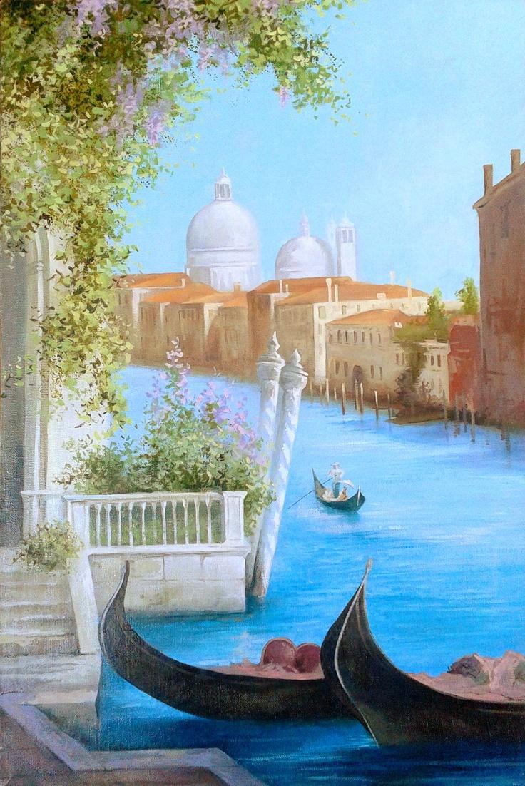"""Summer in Venice""  Size 40x60 cm  $199  #painting #art # design #venice #picture #water #summer #gondola #olio #nature"