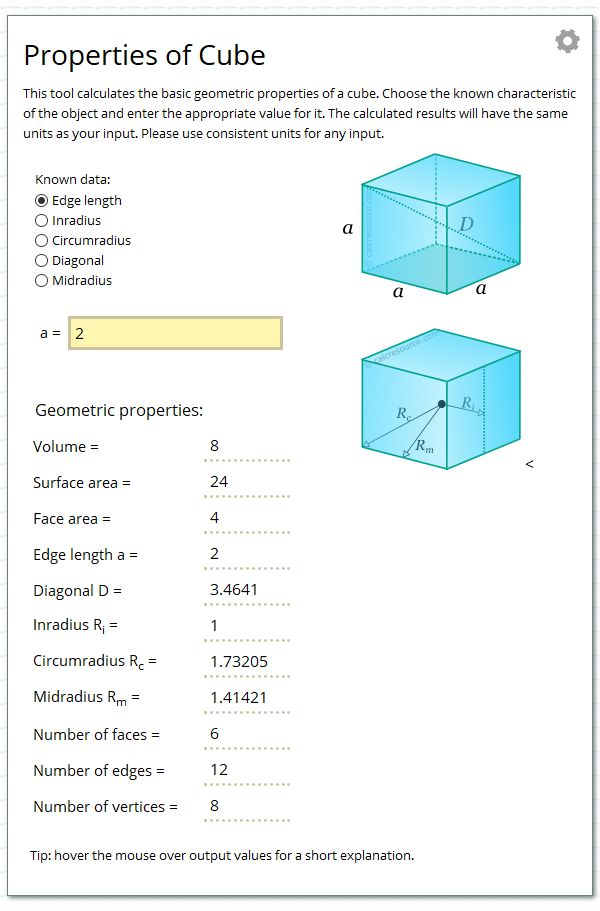 Calculate the geometric properties of a cube.