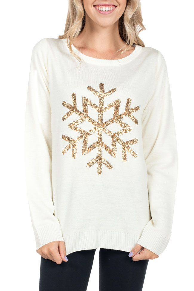 Women\u0027s Golden Snowflake Christmas Sweater Christmas Pinterest