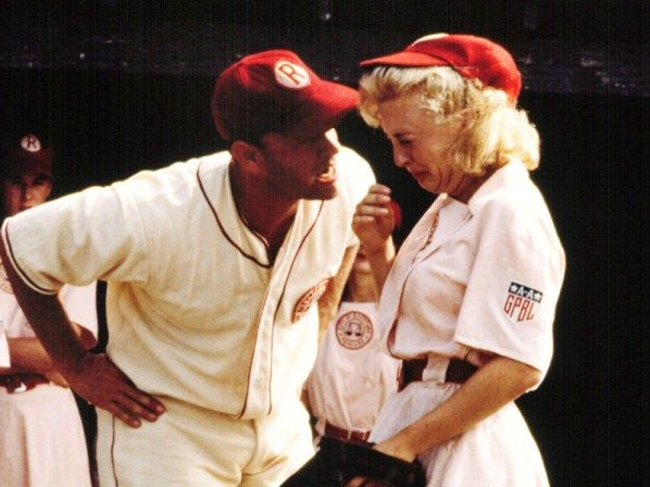 """Are you.. Are you crying? There's no crying in baseball!"" I love this movie haha"