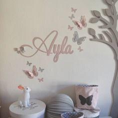 sur commande stickers pr nom version fille et papillons rose poudr argent personnalisable. Black Bedroom Furniture Sets. Home Design Ideas