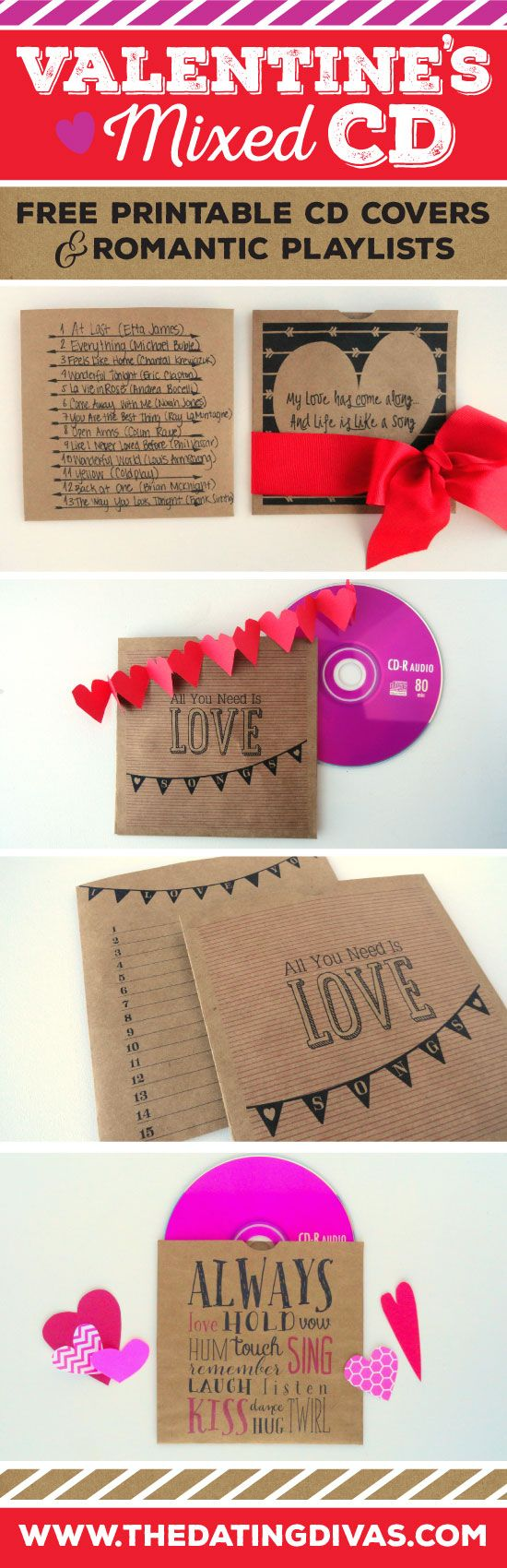 Adorable, free printables and playlist of love songs to make a quick and easy mixed CD - perfect Valentine's gift!! www.TheDatingDivas.com