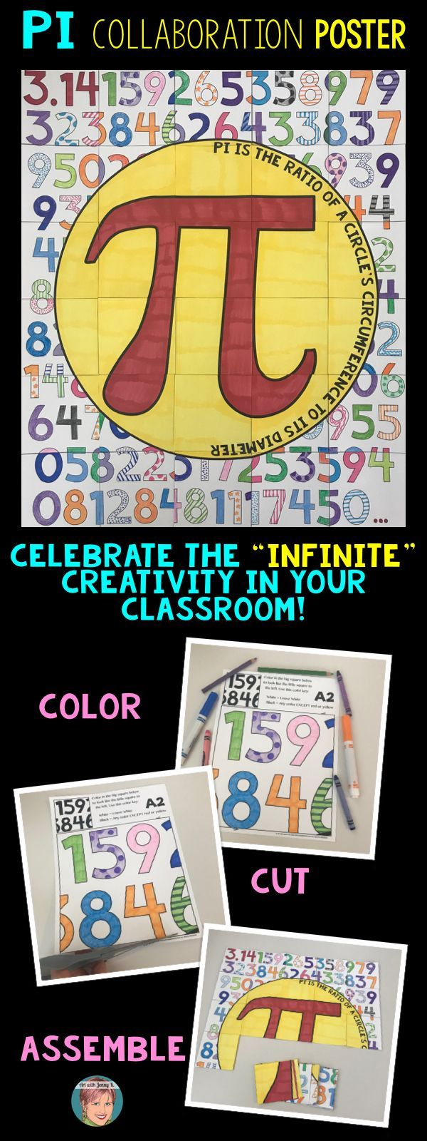 Pi Day Activity Pi Day Coloring Classroom Collaboration Poster Math Projects Creative Classroom Pi Day [ 1600 x 600 Pixel ]