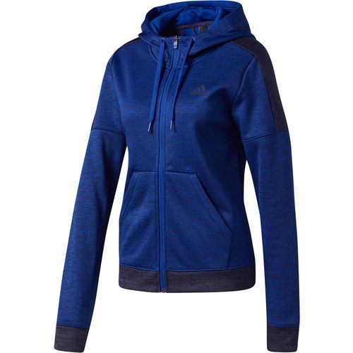 Adidas Women's Team Issue Fleece Full-Zip Hoodie (Blue Dark, Size Large) - Women's Athletic Apparel, Women's Athletic Fleece at Academy Sports