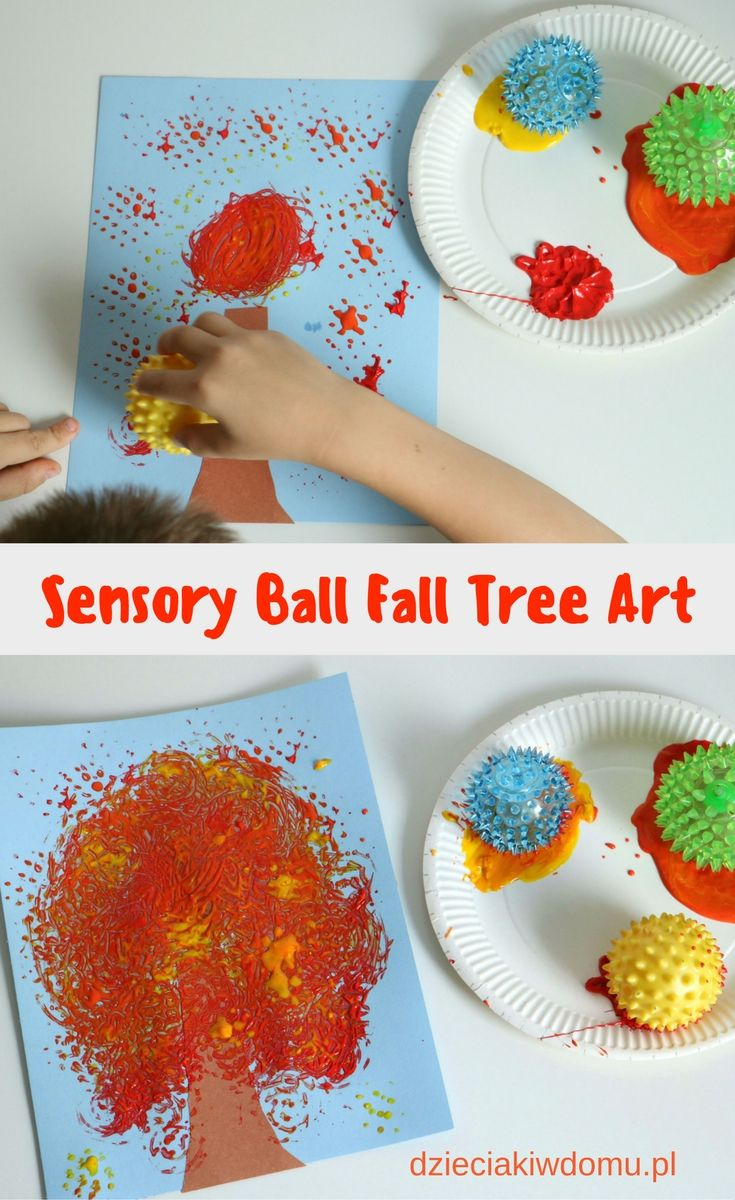 sensory ball fall tree art for kids