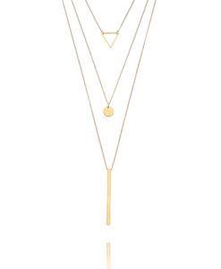 colar triplo minimalista geometrico dourado semijoias