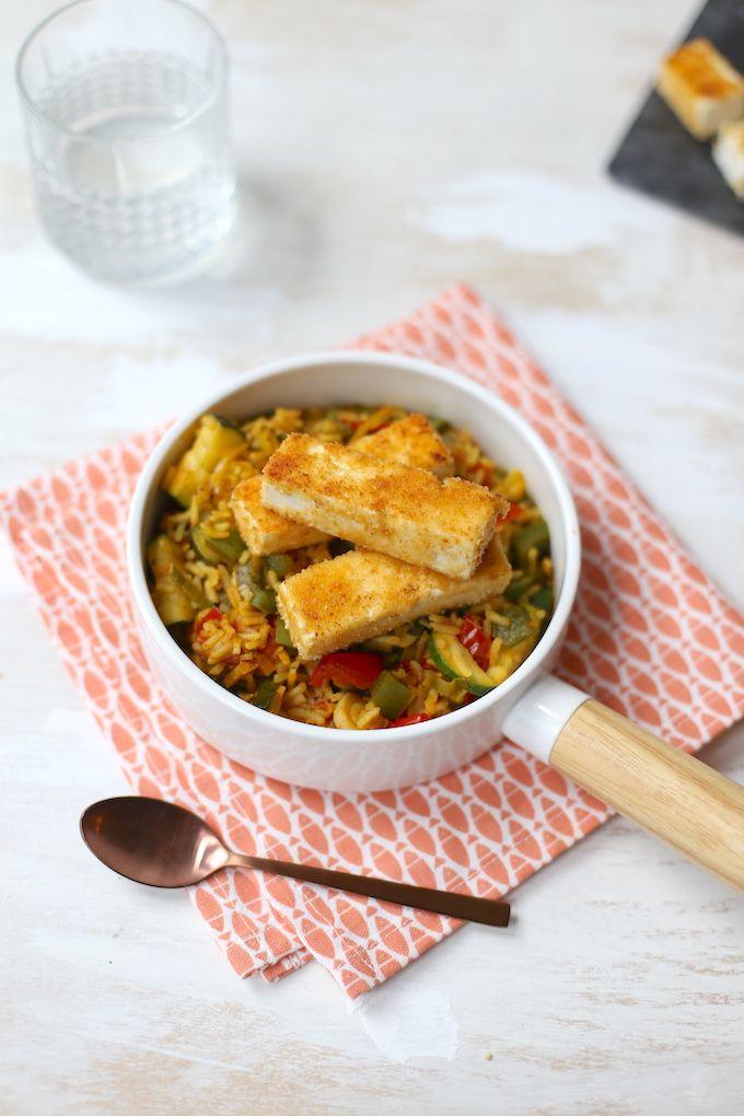 Eenpansgerecht met rijst en feta