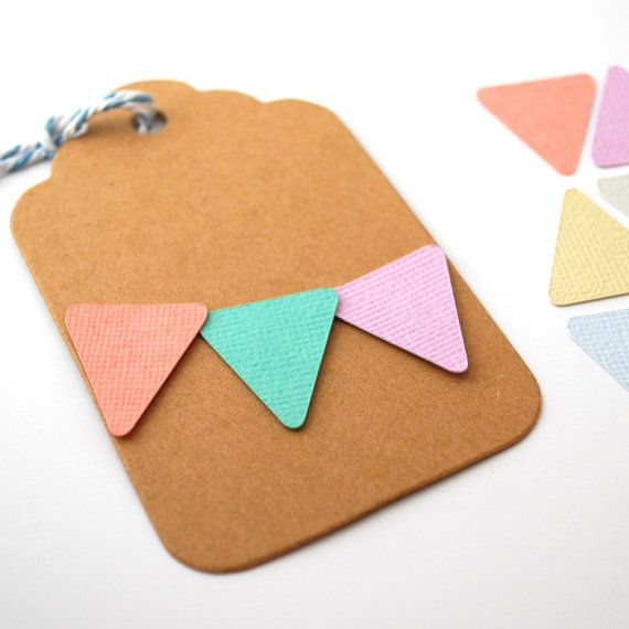 Mini Paper Bunting Pennants in gorgeous pastel colours - decorate cards, gift tags, scrapbooking pages or make a garland!  75 Mini Pennants by PaperCottonLove, $4.50