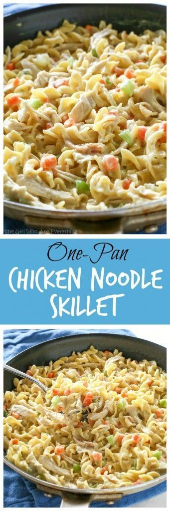 """This Creamy Chicken Noodle Skillet is a family friendly dinner that can be made in under 20 minutes all in one pan! As I was making this Creamy Chicken Noodle Skillet the phrase """"Necessity is the Mo"""