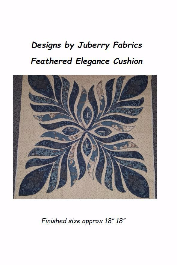 Feathered Elegance Cushion Pattern     The pattern contains full instructions and a template to enable you to make a cushion cover or multiple blocks for a quilt or wall hanging.     It is a stunning design and adds that little bit of class to any room.