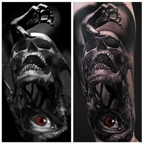Tattoo rotes Auge Skull Hand