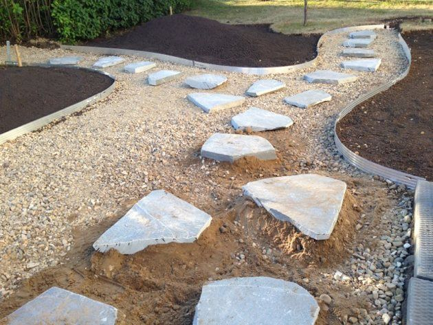 Edging keeps walkways looking need and clean. Stones in front have had building sand poured beneath them for further stability. Photo courtesy Park Landscaping.  www.parklandscaping.ca