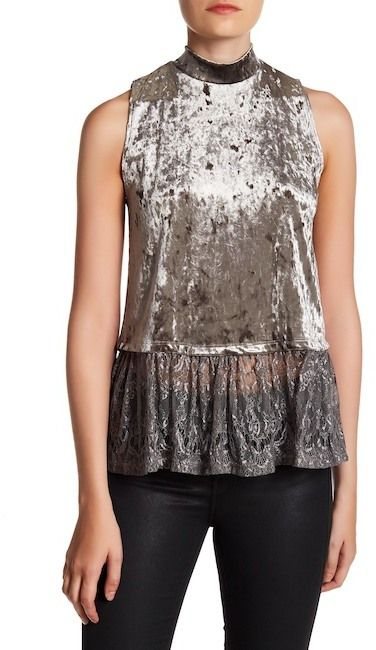 GOOD LUCK GEM Sleeveless Crushed Velvet & Lace Tank Top