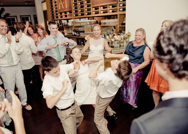 Teens Dance Energetically At Parents Wedding