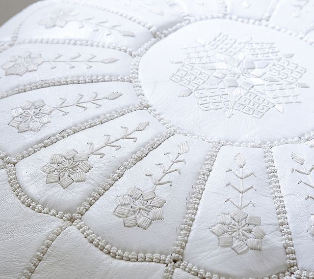 Gorgeous hand embroidery: White Moroccan Leather Pouf. #serenaandlily