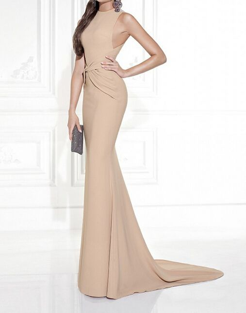 Elegant Sheath Formal Evening Dresses With Stain Sash