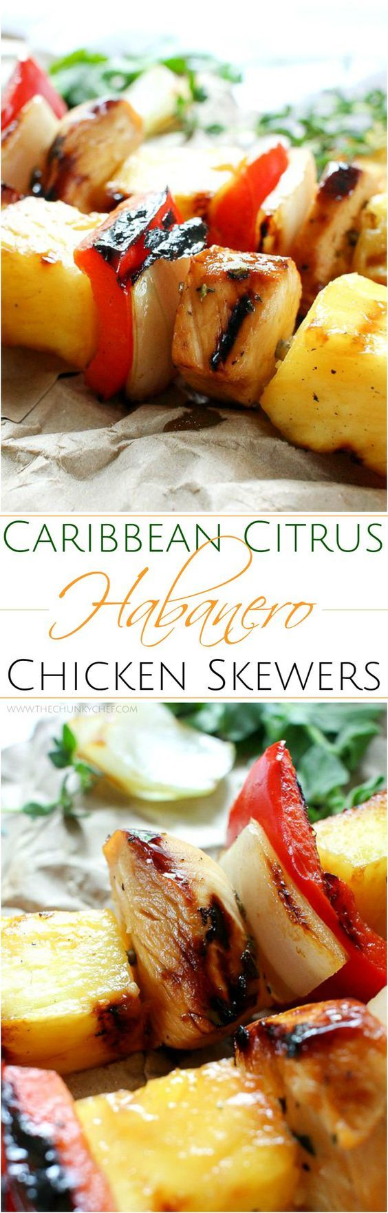 Taste the Caribbean in these citrus habanero chicken skewers... marinated chicken onions peppers and pineapple.. all grilled to smoky charred perfection!