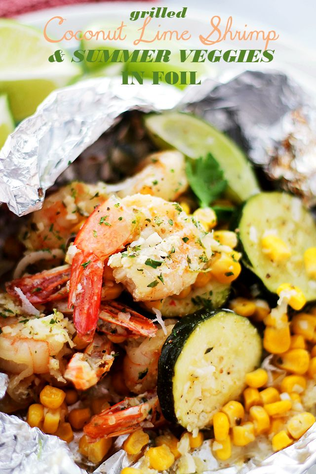 Grilled Coconut Lime Shrimp and Summer Veggies in Foil   www.diethood.com   Corn, zucchini and coconut-lime marinated shrimp grilled in foils makes for one easy, delicious, 30-minute summer dinner!