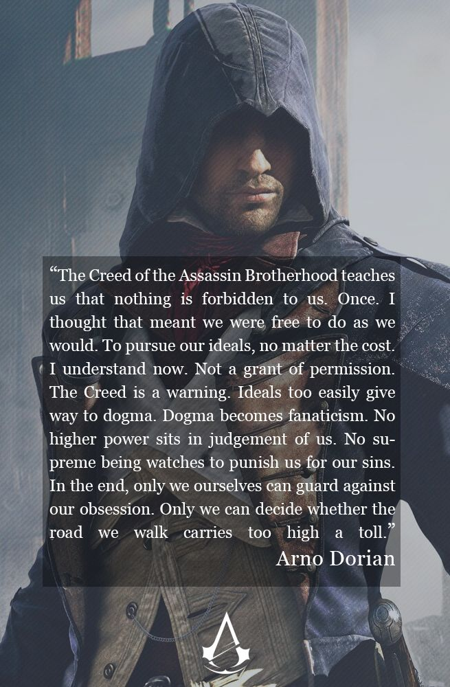 My favorite quote from Arno Dorian towards the end of the game. Randomly did it on Photoshop.