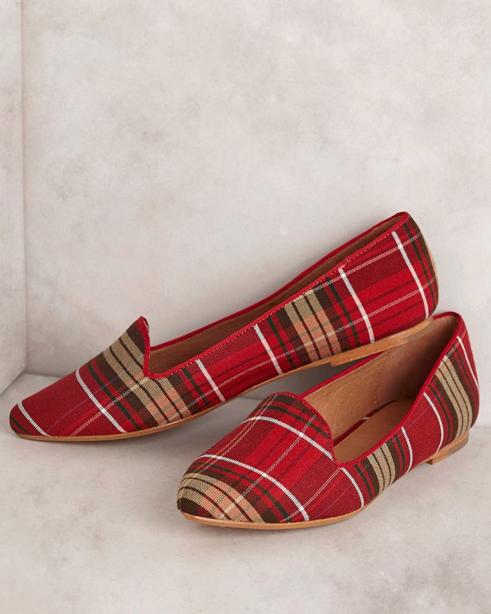 I adore these plaid red loafers by Joie.