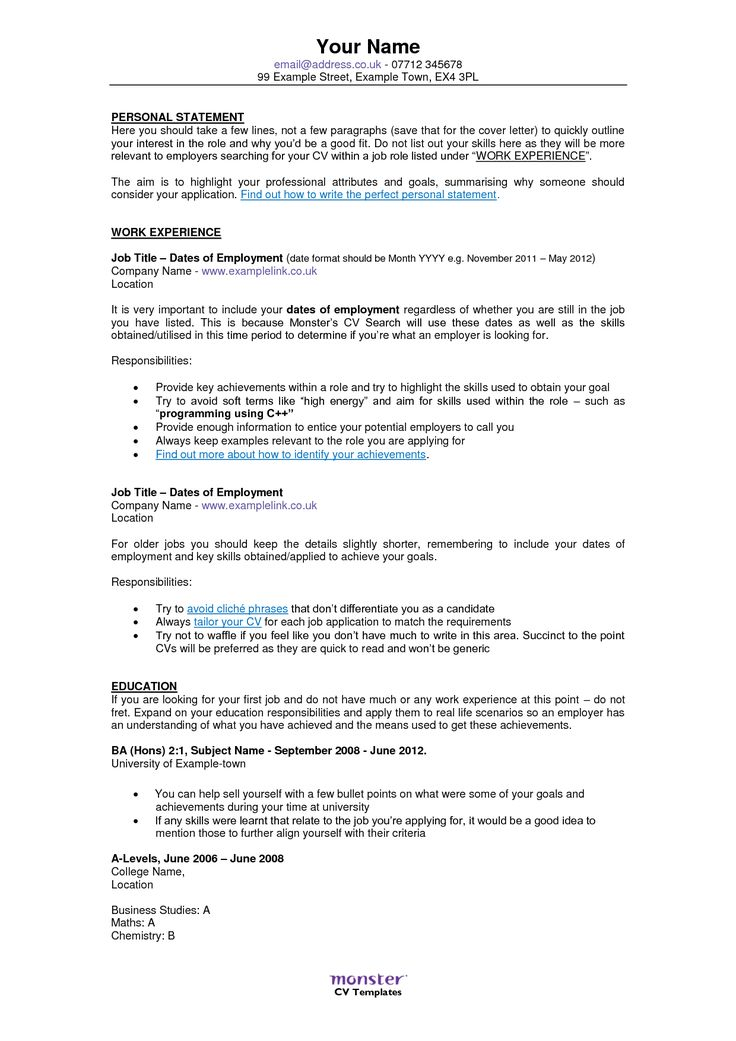 Resume Examples Monster Resume template examples, Job