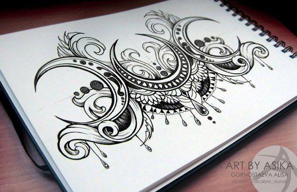 triple moon tattoo design                                                                                                                                                     More