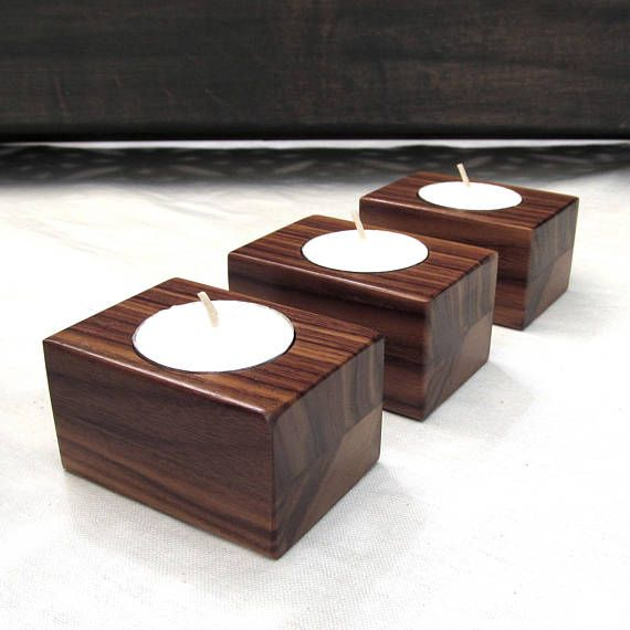 Modern Tea light candle holder set walnut candle holders