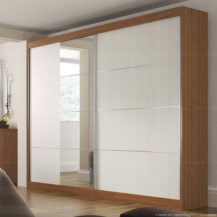 Guarda-roupa 2 Portas de Correr com Espelho Capri Amêndoa/Ártico - Manto Móveis | Lojas KD