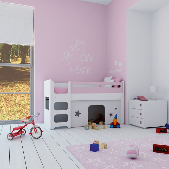 Pink convertible crib with loft bed and play area cuna - Literas infantiles modernas ...