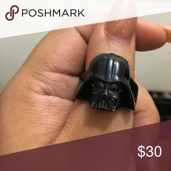 Star Wars Darth Vader biker ring Stainless steel. All black detailed Darth Vader helmet. Biker style ring. Size 10. Unisex. Star Wars Jewelry Rings