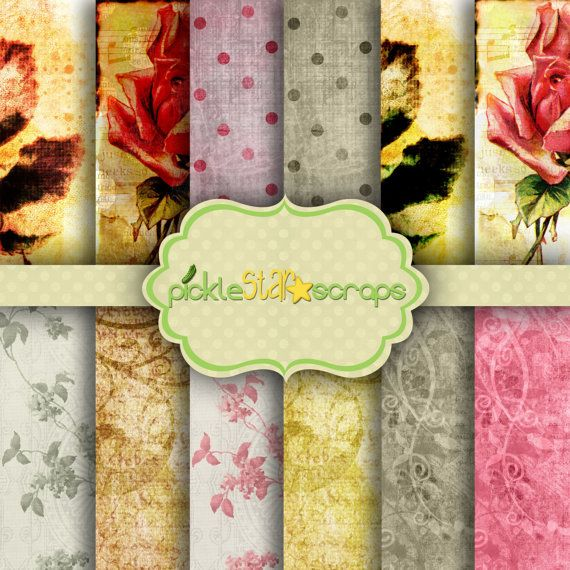Printable Papers Floral Papers Garden Papers by PickleStarScraps