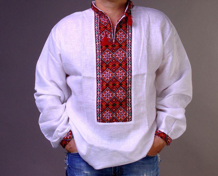 Mens Traditional Clothing – White Vyshyvanka Embroidered Mens linen shirt XL – a…
