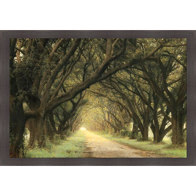 Artist: William Guion Title: Evergreen Alley Product type: Framed Print Style: Contemporary Format: Horizontal Size: Large Subject: Landscapes Frame: Dark mahogany with a wood grain feel Image dimensi