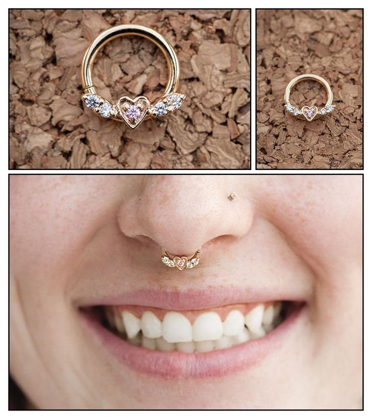 14g Flying Heart Septum Ring - Yellow or White Gold - Thumbnail 1