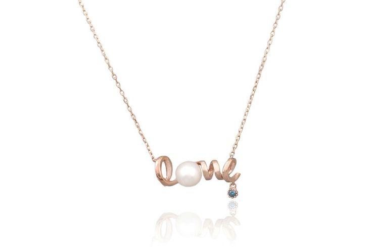 14k gold pearl bluediamond necklace