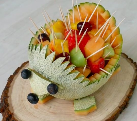 This cantaloupe hedgehog is cute as can be. And so easy!