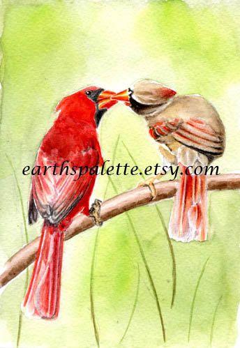 Red cardinal bird painting 5x7 print original by Earthspalette