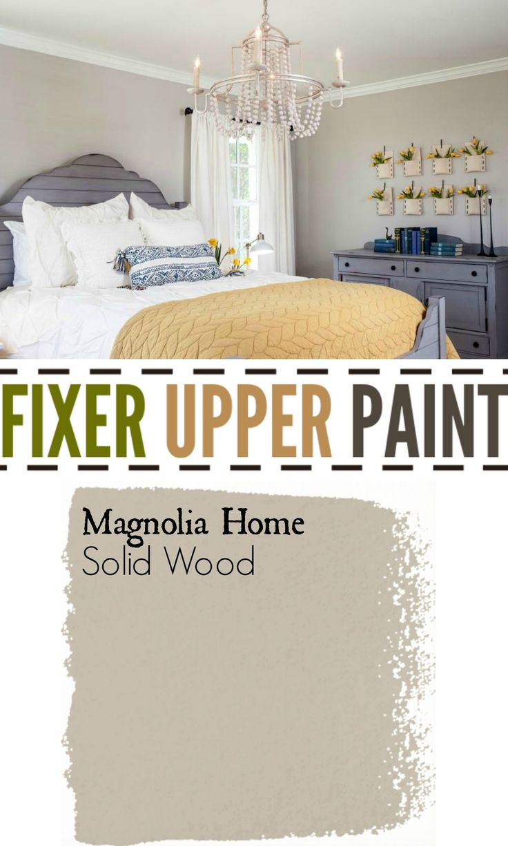 Fixer Upper Paint Color Solid Wood. Soft color for master bedroom. Blue and yellow accent colors.