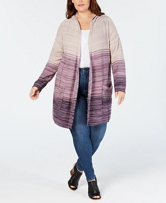 Plus Size Ombré Hooded Cardigan, Created for Macy's