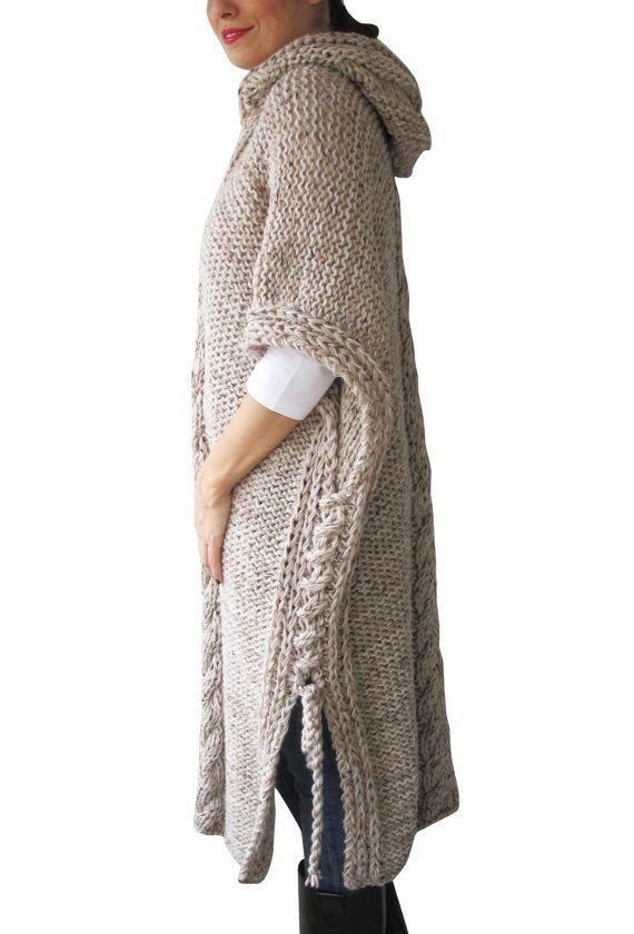VENTA DE 20% INVIERNO NUEVO Plus tamaño Maxi tejer Poncho por afra
