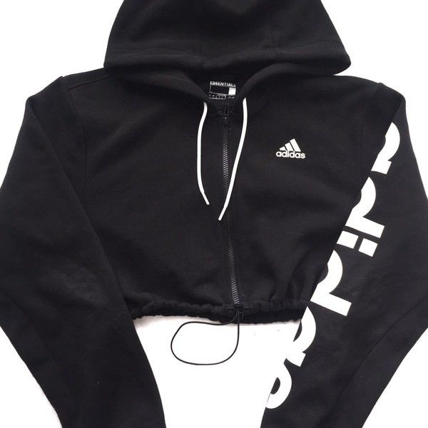 91cb6a0589dbf Reworked Adidas Logo Crop Hoody ( 55) ❤ liked on Polyvore featuring tops